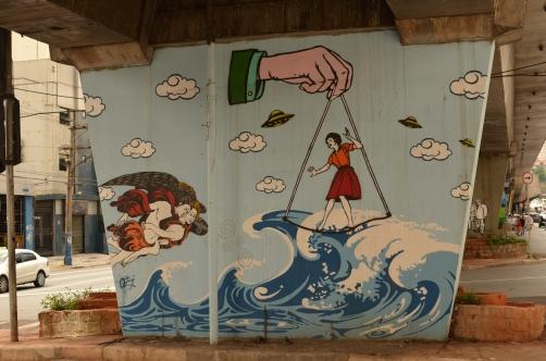 One of the pieces from the 1º Museu Aberto de Arte Urbana do Mundo