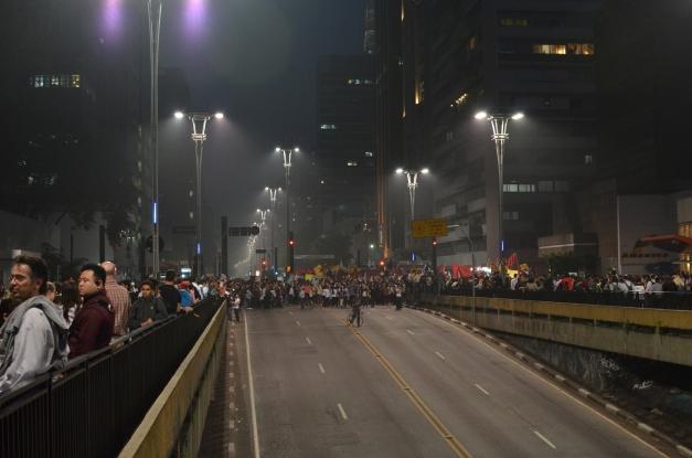 Avenida Paulista and Rua Consolação towards the beginning of the protest.