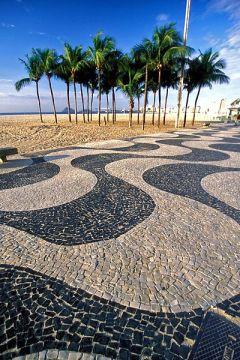 Copacabana famous wavy pavement.